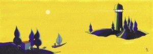 <span> うみの灯台</span><p> 2004年制作</p><p> 約10cm×24cm(水彩+水彩紙)</p>