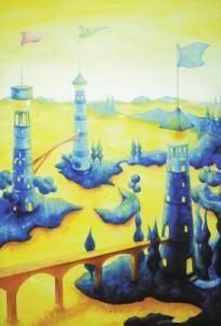 <span> 三つ子の灯台</span><p> 2005年制作</p><p> 140cm×90cm(水彩+水彩紙)</p>