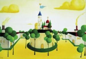 <span> 昼下がりの宮殿</span><p> 2005年制作</p><p> 90cm×140cm(水彩+水彩紙)</p>
